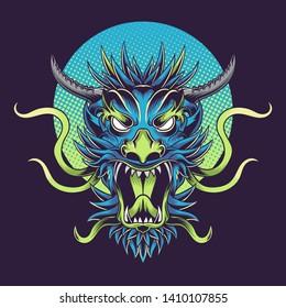 Dragon Scream Vector Illustration Tshirt Design