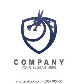 Dragon shield logo template, shield logo and line