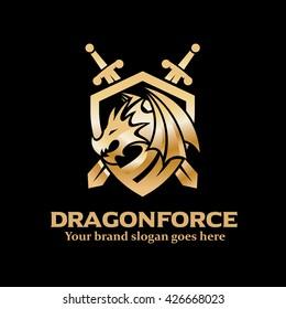 Dragon Shield with Swords Sign, Dragon Army Logo, Dragon Knight Icon