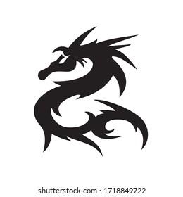 Dragon sign vector illustration /Dragon Tattoo / Tribal Dragon / black and white