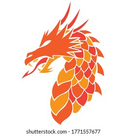 Dragon silhouette drawn in orange colors in Celtic style. Design can be used for logo, tattoo, mascot, mythical animal symbol, stencil, print for t-shirt or clothes. Editable vector illustration