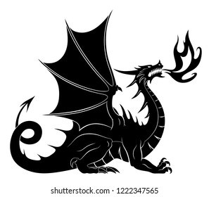 Dragon silhouette with fire