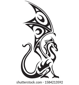 The dragon silhouette is painted black with various lines. Tattoo logo of a fabulous animal dragon. Vector illustration