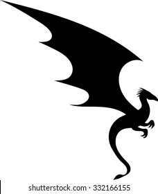 Dragon - Silhouette - Vector - Illustration