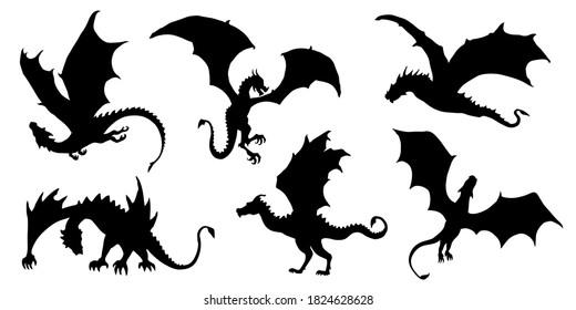 dragon silhouettes on white background