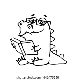 The dragon sits and reads a book. Vector illustration. Glasses on a separate layer.