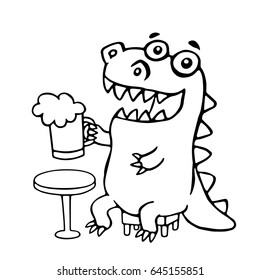 The dragon sitting with a mug of beer. Vector illustration. Cute cartoon character.