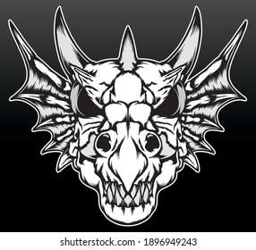 The dragon skull. Premium vector