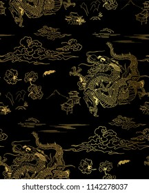 dragon sky chrysantemum vector seamless japanese chinese pattern gold black traditional