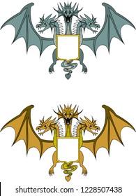 dragon snake gorynych three-headed green yellow emblem
