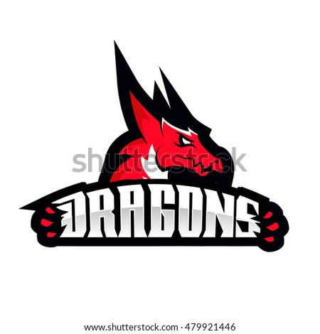 dragon sport logo basketball design vintage のベクター画像素材
