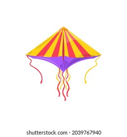 Dragon striped kite with long wavy strings isolated summer kids toy. Vector flying kite-balloon Uttarayan International Kites Festival object in sky, Makar Sankranti holiday symbol of freedom