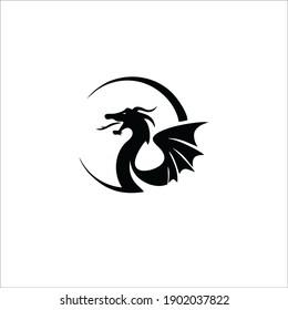 Dragon Symbol Logo. Tattoo Design. Vector Illustration.
