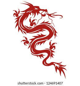Dragon - a symbol of oriental culture, isolated on white background. Tattoo. Vector illustration