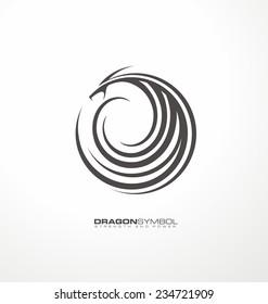 Dragon symbol unique vector concept. Creative abstract logo design template. Tattoo graphic element.