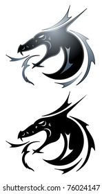 Dragon tattoo symbol in black and silver