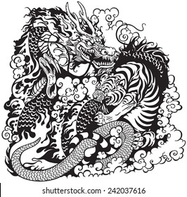 dragon and tiger fight, black and white tattoo illustration