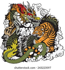 dragon and tiger fighting , illustration
