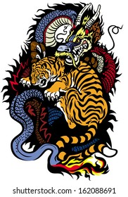 dragon and tiger fighting tattoo illustration