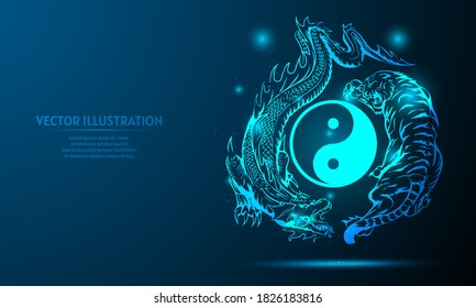 dragon and tiger on a dark blue background of the space with shining stars. yin yang background
