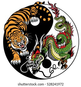 Dragon And Tiger Yin Yang Symbol Of Harmony Balance Vector Illustration