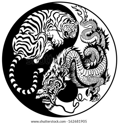 Dragon Tiger Yin Yang Symbol Harmony Stock Vector Royalty Free