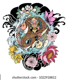 Dragon and two koi carp with yin-yang symbol.hand drawn Dragon and koi fish with flower tattoo for Arm,Japanese carp line drawing coloring book.Dragon and koi fish fighting and water splash.