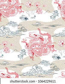 dragon vector backgtound japanese design