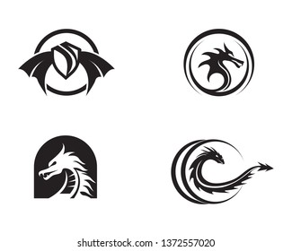 Dragon vector icon illustration design logo template