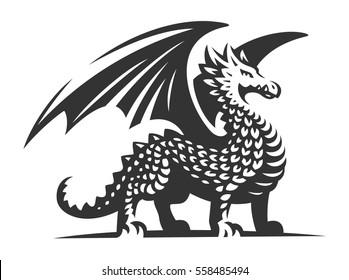 Dragon vector illustration, emblem design on white background.