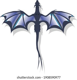 dragon, vector illustration, icon, in blue tone on white background