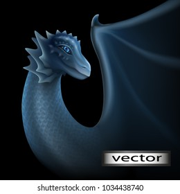 Dragon, vector illustration. Isolated on a black background. Gray blue color of the skin, scales of a dragon. Blue eyes, glow in the dark. Fantasy fairy picture.