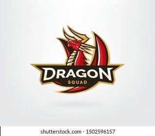 Dragon vector logo template. Dragon sport gaming mascot logo template. Mythological animals dragon sport. esport gaming mascot logo template for team
