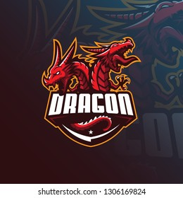 dragon vector mascot logo design with modern illustration concept style for badge, emblem and tshirt printing. angry dragon illustration for sport and esport team.