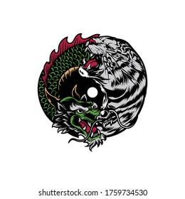 Dragon Vs Tiger Yin Yang Logo Illustration