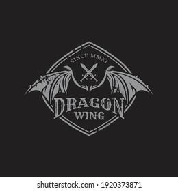 Dragon wing emblem logo design