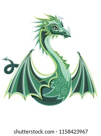 Dragon with wings, flying green miphological animal, chinese creatures, cartoon character, art for emblems and tattoo, isolated on white background, vector illustration