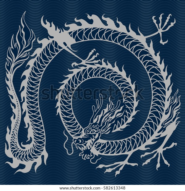 Dragon wrapped in ring on a blue background; RGB EPS 10 vector illustration