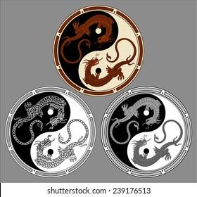 Dragon the yin yang. Dragons in the shape of the yin yang, symbol of harmony and balance.