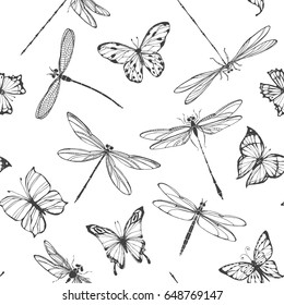 Dragonflies and butterflies. Seamless pattern. Black and white vector illustration.