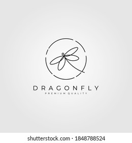 dragonflies logo outline vector illustration design