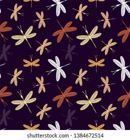 Dragonflies, subdued, contrasting colors on deep purple background. Vector seamless pattern.