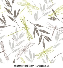 Dragonflies and twigs on a white background. Seamless vector pattern.