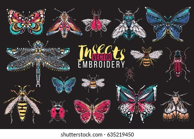 Dragonfly, ant, fly, night moth, tropical butterfly, honey bee, wasp, ladybag, red flying bug. Embroidery and rhinestones fashion crystals patches insects illustration. Isolated on black background.