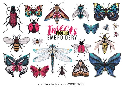 Dragonfly, brown bug, forest ant, small and big tropic butterfly, fly, night moth, honey bee, wasp, flying ladybag. Embroidery fashion patch with insects illustration. Trendy art on white background.
