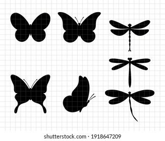 Dragonfly and butterfly silhouettes.  Decoration design. Vector flat illustration. Cutting file. Suitable for cutting software. Cricut, Silhouette