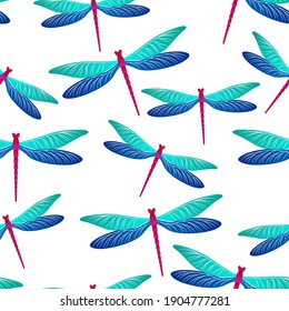 Dragonfly cute seamless pattern. Spring dress fabric print with darning-needle insects. Close up water dragonfly vector wallpaper. Fauna beings seamless. Damselfly silhouettes.