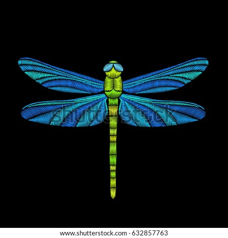 Dragonfly Embroidery Design Element Fabric Vector Stock Vector