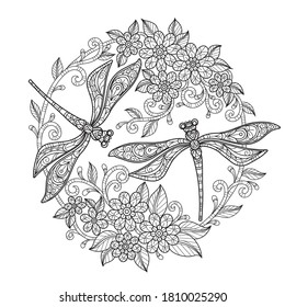 Dragonfly in flower garden. Zentangle stylized cartoon isolated on white background.  Hand drawn sketch illustration for adult coloring book.