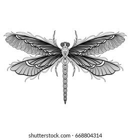Dragonfly isolated on white. Vector illustration.